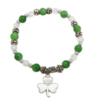 Rosemarie Collections Women's St Patrick's Day Irish Beaded Stretch Bracelet with Charm - CK187LTUMXD