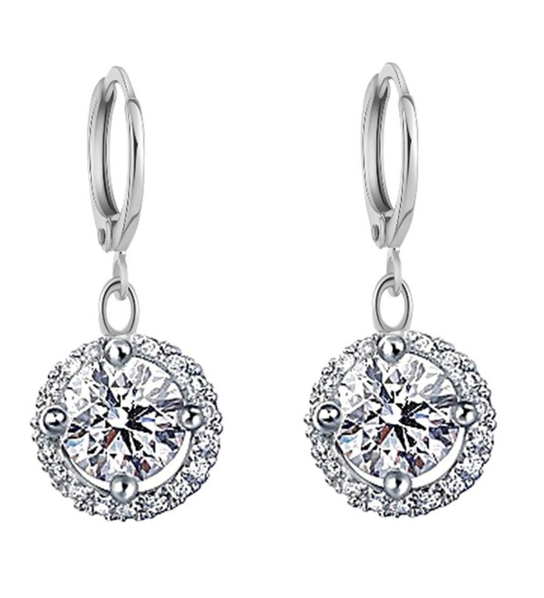 YAZILIND Jewelry Silver Plated Cubic Zirconia Hoop Dangle Drop Earrings for Women - C612KUTA727