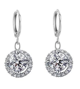 YAZILIND Jewelry Silver Plated Cubic Zirconia Hoop Dangle Drop Earrings for Women - C612KUTA727