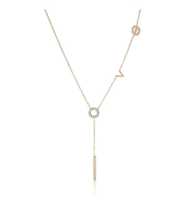 Love Lariat Layering Y Shaped Necklace for Women and Girls in Stainless Steel - CD12OCVBBK5
