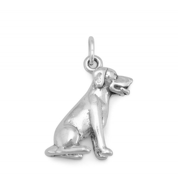 Dog Breed - Labrador Sitting Dog Charm Sterling Silver- Made in the USA - CR113LADK4Z