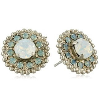 Sorrelli Accented Round Swarovski Crystal Post Stud Earrings - Aegean Sea - CX124RW21A9