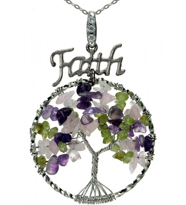 "Lucky Tree of Life Necklace Faith Charm Best Friend Gemstones Pendant 18"" 24"" Chain for Gift - Mixed circle - CL12HQV1ISF"