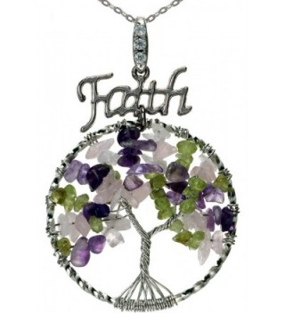 """Lucky Tree of Life Necklace Faith Charm Best Friend Gemstones Pendant 18"""" 24"""" Chain for Gift - Mixed circle - CL12HQV1ISF"""