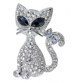 Alilang Silvery Tone Clear Crystal Colored Rhinestones Cat Kitty Bow Brooch Pin - C1119LR4O25