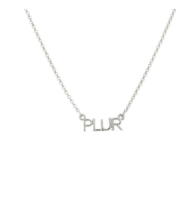 Lux Accessories PLUR Peace Love Unity Respect EDM Rave Music Festival Pendant Necklace. - CQ11V1O9LGZ