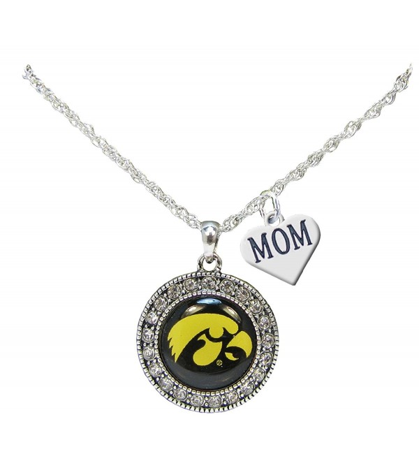 Iowa Hawkeyes Silver Crystal Necklace WITH MOM CHARM Jewelry UI - CB185AMDL6R