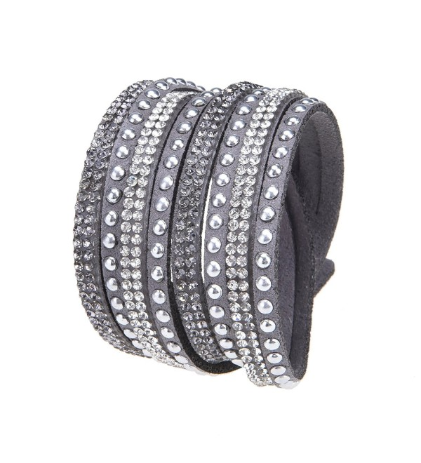 Slake Style Crystal encrusted Layered Rhinestone Rivet Wrap Bracelet Light Gray - Gray - CY182IEYCRX