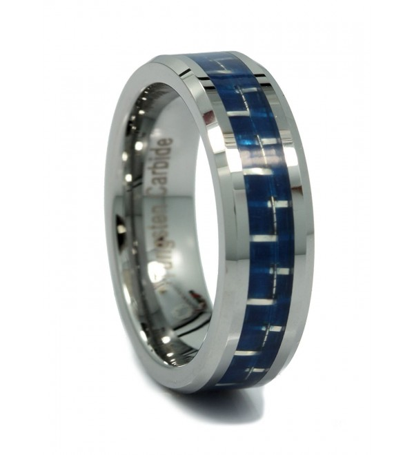 MJ 6mm Mirror Polished Tungsten Carbide Wedding Ring Blue or White Carbon Fiber Inlay - CE11OJZYN5H