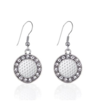 Golf Lovers Circle Charm Earrings French Hook Clear Crystal Rhinestones - CM124BV85J3