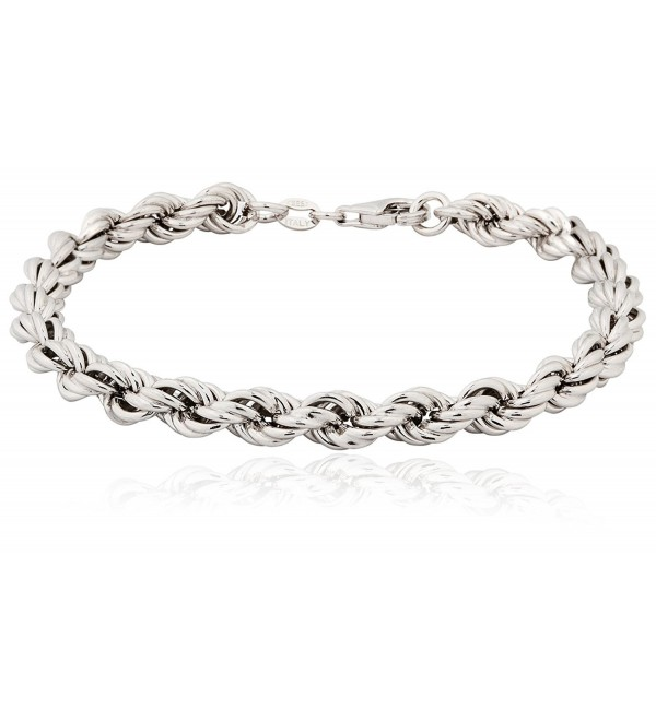 SilverLuxe 925 Sterling Silver Rope Chain Necklace / Bracelet- Gold or Rhodium Plated - rhodium-plated-silver - CA12HX5D3EB