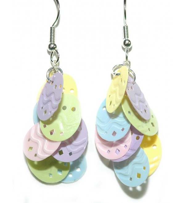 Multi Color Pastel Easter Egg Dangle Earrings (H239) - C717XWLIQUG