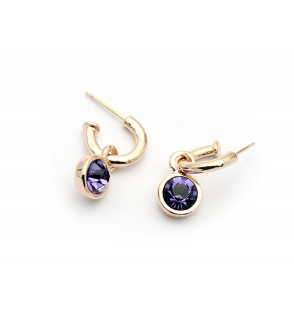 Signore-Signori Purple Drop Earrings 18k Gold Plated Made With Swarovski Elements - CJ11JJ0LLKR