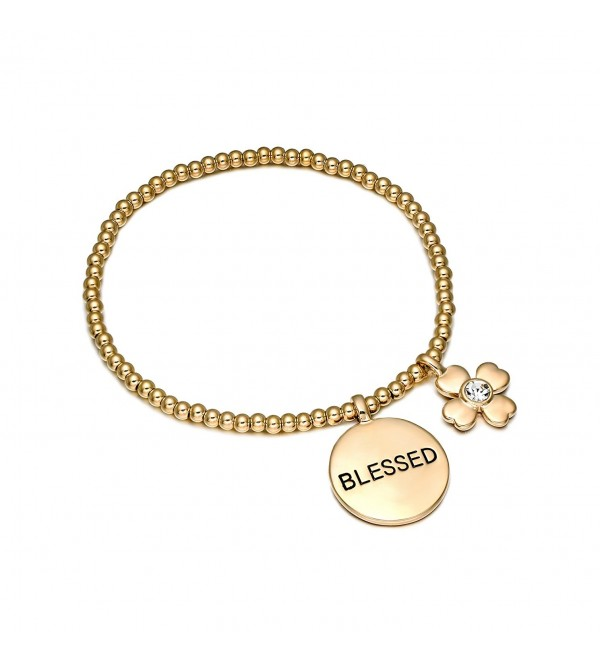 "COTTON TREE jewelry four-leaf clover ""blessed"" pendant charm Stretch bangle Bracelet - C312LGFI7JZ"