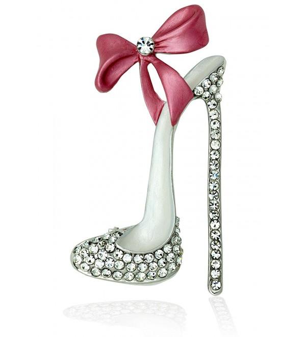 Akianna Hand Painted Swarovski Element High Heel Shoe Brooch Pin - Pink - CS188T7IK0S