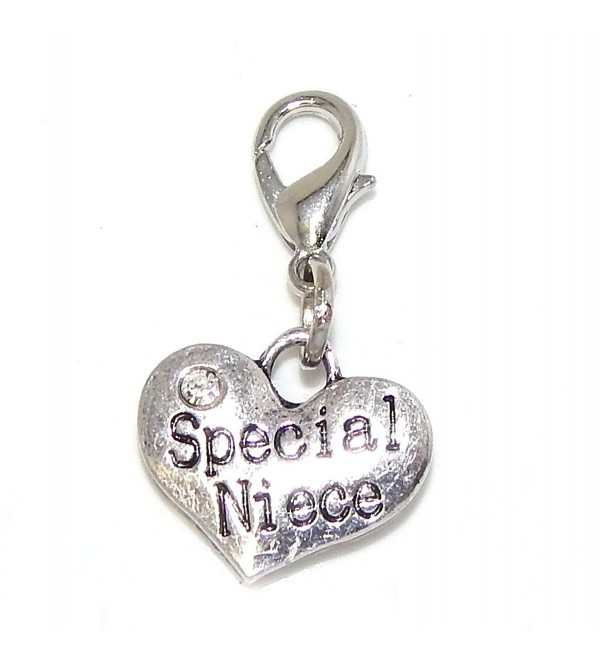 "Pro Jewelry Clip-on ""Special Niece Heart w/ White Crystal"" Charm Dangling - CP11LY9O1FX"