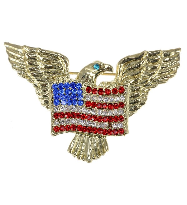 Alilang Golden Tone Patriotic American Eagle Rhinestone USA Flag Brooch Pin - CS113T299UP
