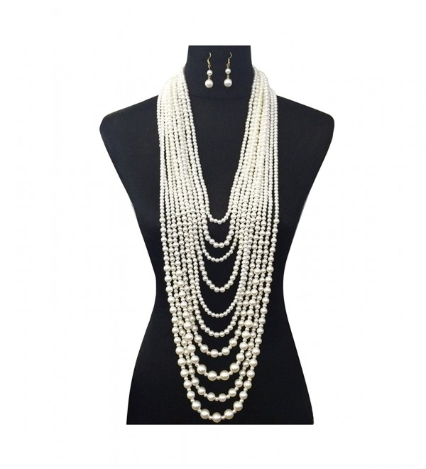 Women's Ten Multi-Strand Simulated Pearl Statement Necklace and Earrings Set in Cream Color - CH12LHRBH4T