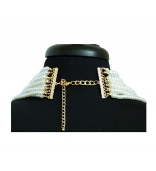Multi Strand Simulated Statement Necklace Earrings in Women's Chain Necklaces