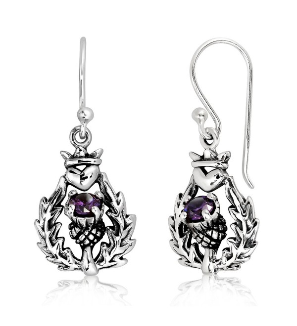 WithLoveSilver 925 Sterling Silver Classic Scottish Thistle Simulated Cubic Zirconia Heart Dangle Earrings - CQ12O8EATLA