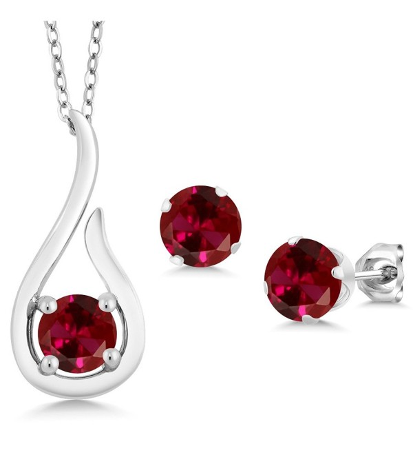 1.80 Ct Round Red Created Ruby 925 Sterling Silver Pendant Earrings Set With Chain - C811VHJ2GUR