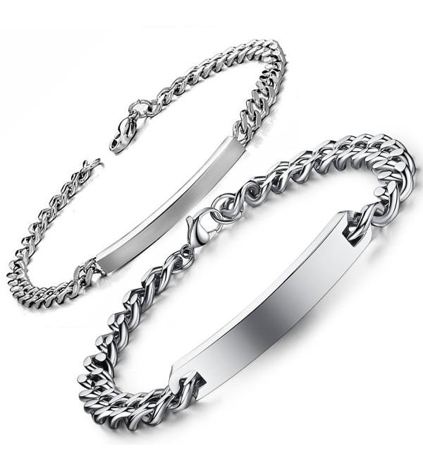 Flongo Engraving Stainless Anniversary Bracelet - silver - C711RLEB4L9