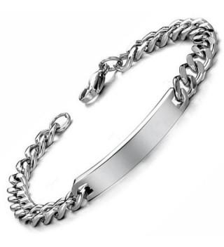 Flongo Engraving Stainless Anniversary Bracelet in Women's Link Bracelets