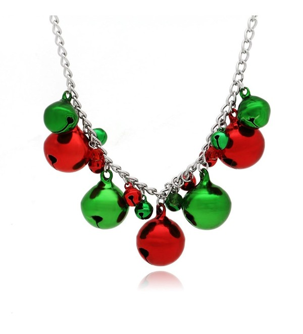 C&L Christmas Jingle Bells Necklace X-Mas Holiday Gift - CQ188S62HNC