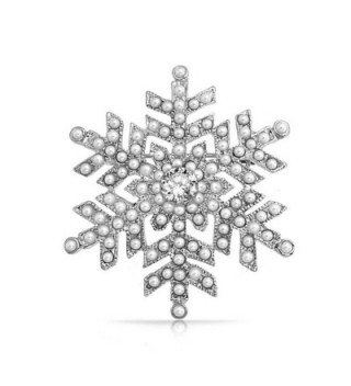 Bling Jewelry Simulated Snowflake Rhodium