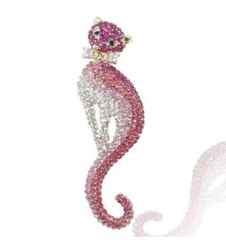 EVER FAITH Women's Austrian Crystal Graceful Kitten Pet Cat with Bowknot Brooch - Pink Gold-Tone - CE11F6A8TDZ