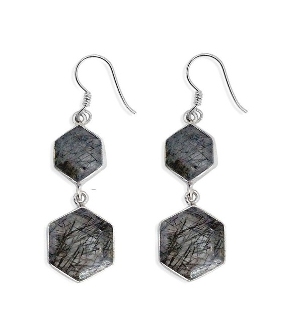 Sterling Silver Hexagon Black Rutilated Quartz Dangle Earrings - CZ11AQIN9YL