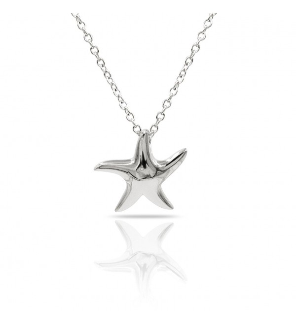 Sterling Necklace Polished Starfish Adjustable - Silver - CS128AI2SYP