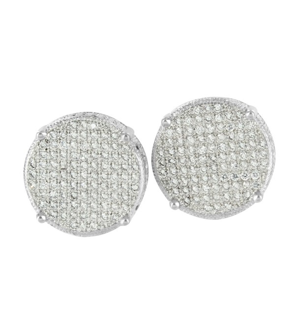 White Gold Tone Earrings Mens Womens Round Design Lab Diamonds Screw Back Pierce - 349 - C4125IUYP3V