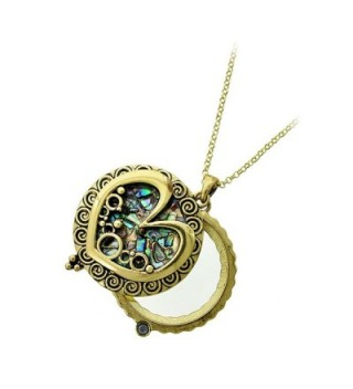 Antiqued Gold and Abalone Heart Magnifying Glass Necklace - CZ189QZW6AL