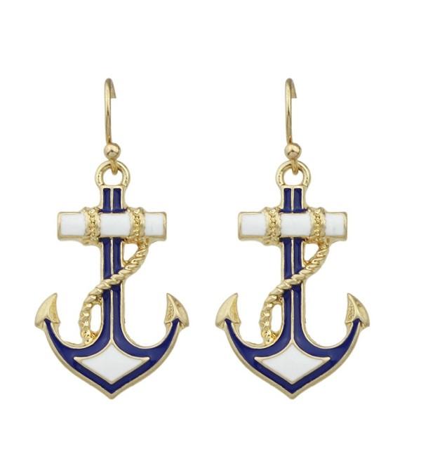 Feelontop Boho Style Big Gold Antique Gold Anchor Design Women Drop Dangle Earrings with Jewelry Pouch - gold - C9183QASZN2