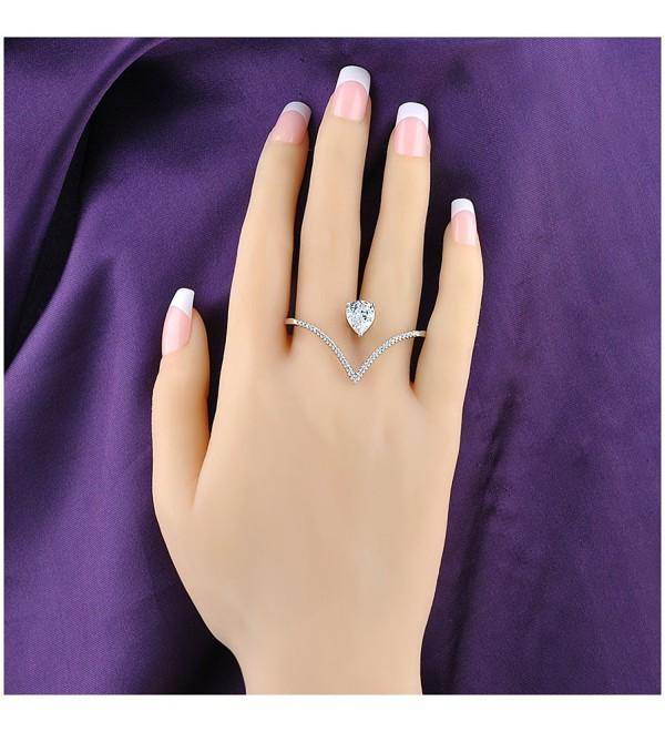 Mytys Stylish Heart Shape Teardrop Crystal 2 Finger Fashion Silver Rings CZ Cubic Zirconia Ring Size 8 - C3125Q0BZD1