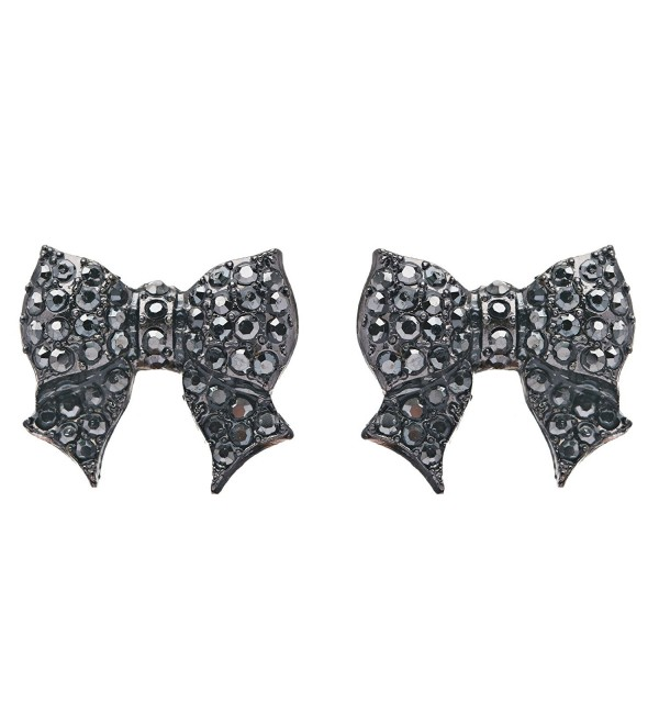 Gorgeous Fashion Ribbon Bow Design Crystal Rhinestone Pave Stud Earrings Black - CF11DIHBQIJ