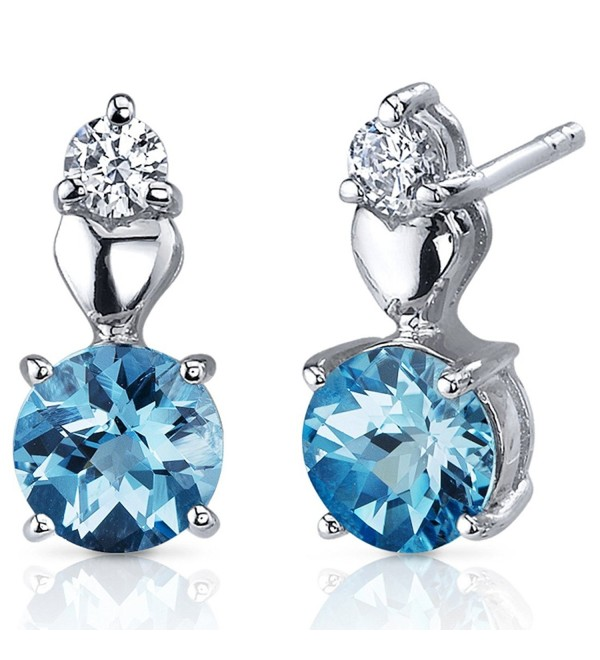 Swiss Blue Topaz Earrings Sterling Silver Heart Design 2.00 Carats - CF116NSEHLX