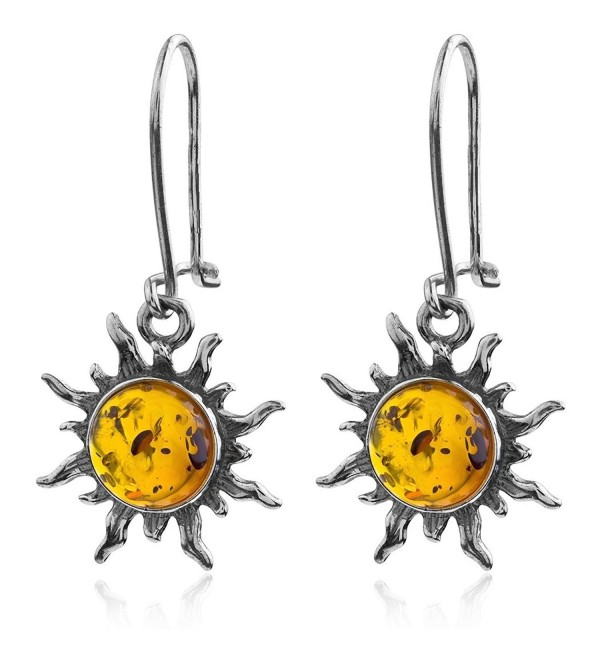 Dark Amber Sterling Silver Sun Hook Small Earrings - CP113ZLZ67Z