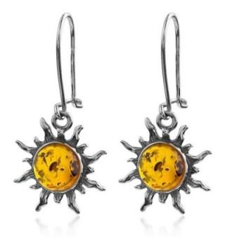 Dark Amber Sterling Silver Sun Hook Small Earrings - CP113ZLZ67Z