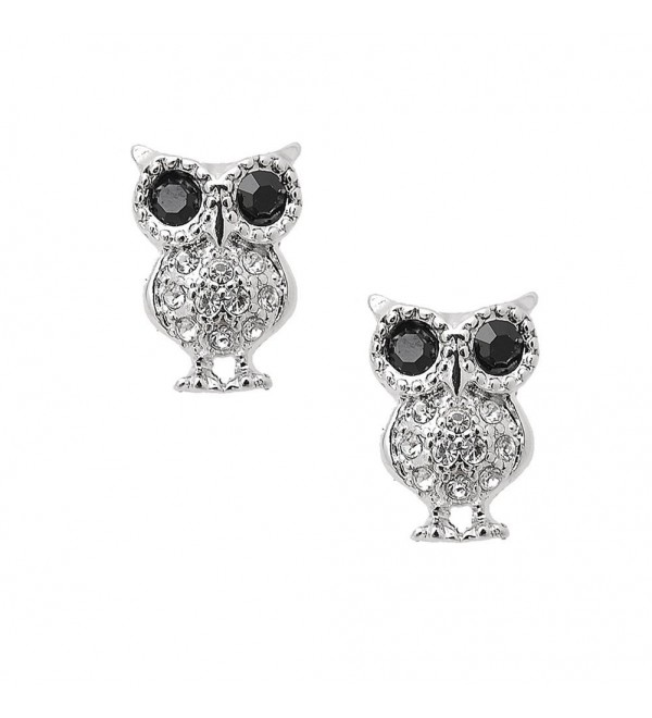 Spinningdaisy Crystal Bold and Curious Black Eyes Owl Earrings - CK1188Q790T
