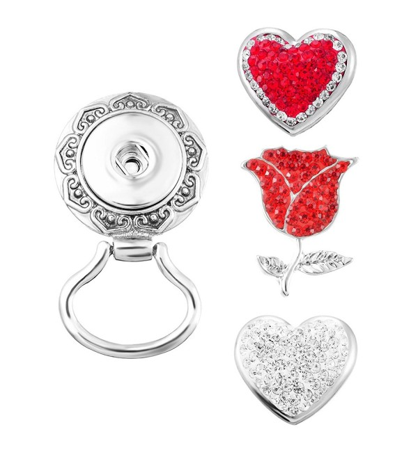 Souarts Interchangeable Eyeglass Holding Snaps Magnetic Brooch with 3pcs Heart Rose Shaped Buttons - CO12O6LMFA9