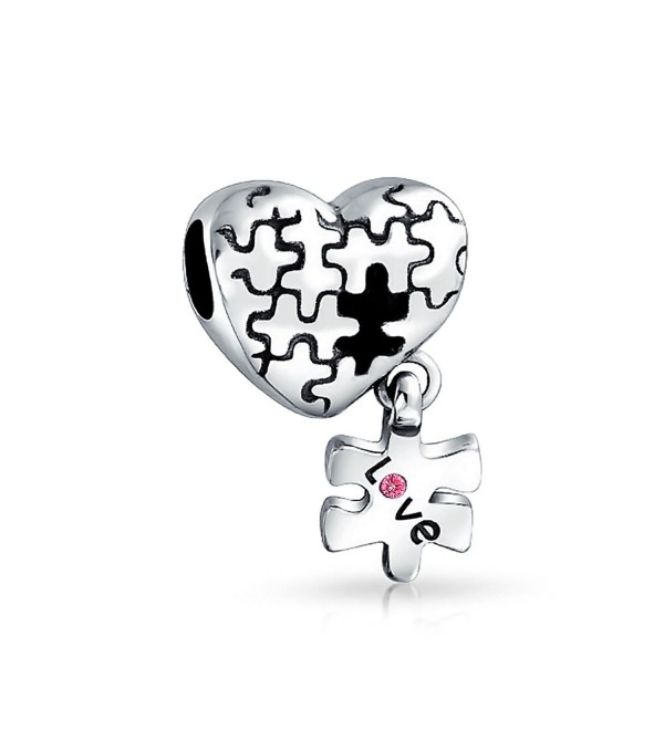 Bling Jewelry Autism Awarness Puzzle Dangling Heart Shaped Bead Charm .925 Sterling Silver - CT11G09SDER