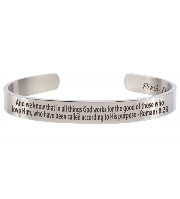 Pink Box 8mm Solid Stainless Steel Holy Scripture Cuff - CS183N5HA28