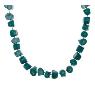 ZLYC Women Handmade Dyed Bright Coral Stone Single Strand Necklace Resort Jewelry - Blue - CX124KH4NXF