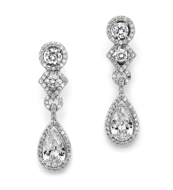 Mariell CZ Clip-On Earrings with Pear Dangles. Drop Style Silver Bridal Clip Earrings for Weddings! - CT11ZP6UHA3