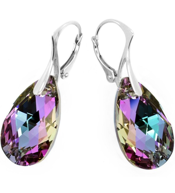 Sterling Silver 925 Pink Blue Teardrop Leverback Earrings with Swarovski Elements - C611EBFMLE5