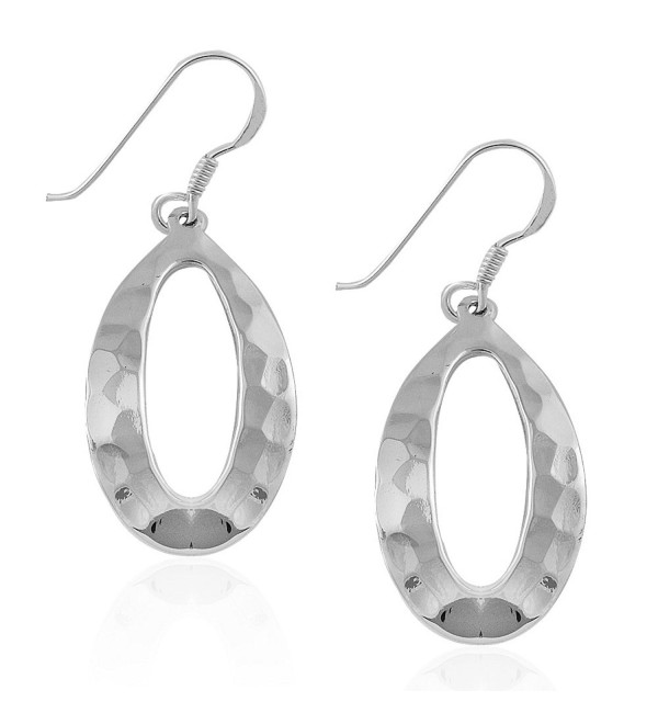 MIMI 925 Sterling Silver Hammered Open Oval Drop Dangle Earrings - CU12D70XX7X
