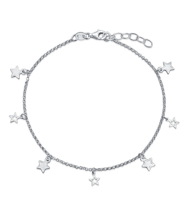 Bling Jewelry Sterling Silver Star Ankle Bracelet Patriotic Jewelry Anklet - CG11IRJ3JL5