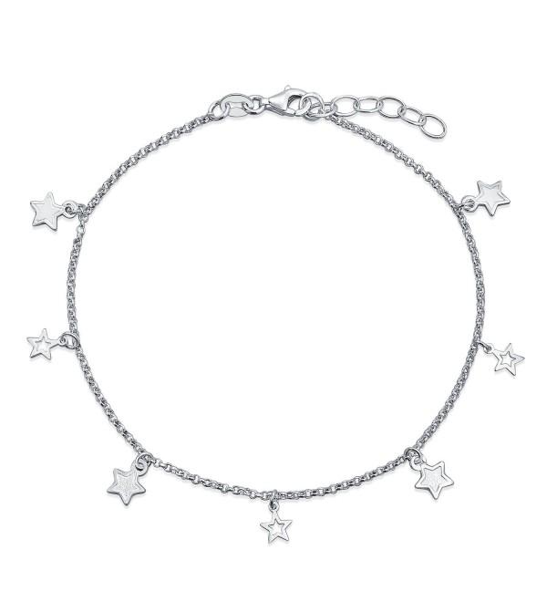 Bling Jewelry Sterling Silver Star Ankle Bracelet Patriotic Jewelry Anklet - CG11IRJ3JL5